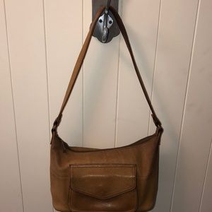 VTG Fossil hobo tote tan leather good pre worn